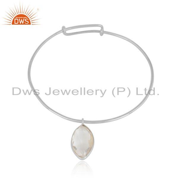 Crystal Quartz Gemstone Designer 925 Silver Candy Collection Bangles