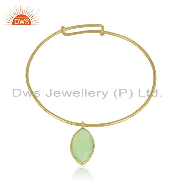 18k Gold Plated 925 Silver Prehnite Chalcedony Gemstone Bangles