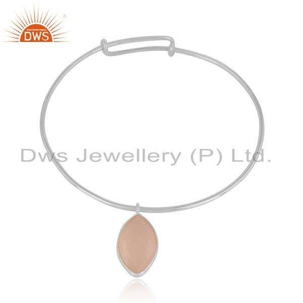 Rose Chalcedony Gemstone Sterling Silver Designer Bangles Jewelry