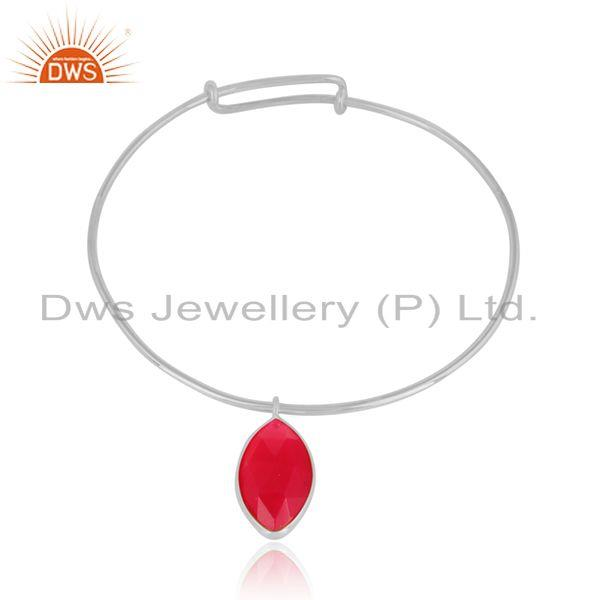 Pink Chalcedony Gemstone Womens Designer Fine Silver Bangles