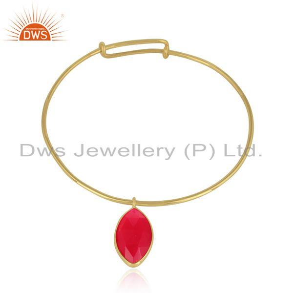 18k Gold Plated Designer Silver Pink Chalcedony Gemstone Bangles