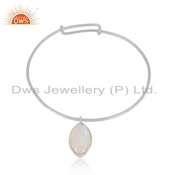 Rainbow moonstone gemstone designer fine silver bangle jewelry