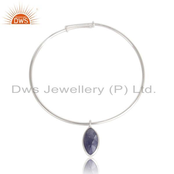 Tanzanite Gemstone Rhodium Plated 925 Silver Designer Bangles