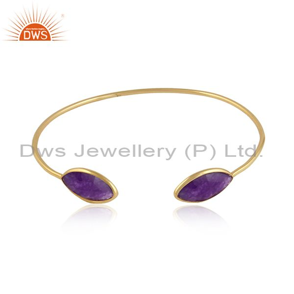 Amethyst aventurine gemstone gold over 925 silver cuff bangle
