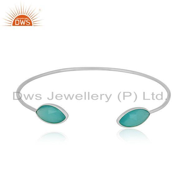 Designer 925 sterling fine silver aqua chalcedony gemstone cuff bangle