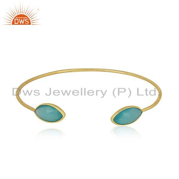 Marquise Shape Aqua Chalcedony Gemstone Gold Plated Silver Cuff Bangle