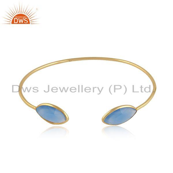 18k Gold Plated 925 Silver Blue Chalcedony Gemstone Cuff Bangles