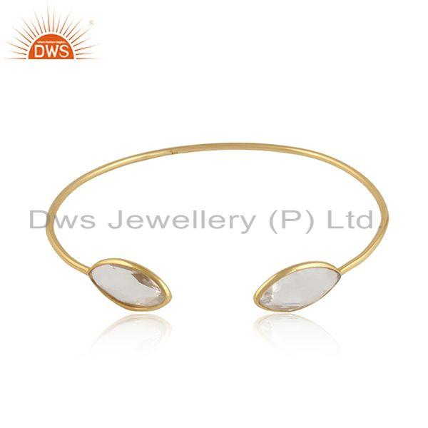 18k gold over silver designer crystal quartz gemstone cuff bangle