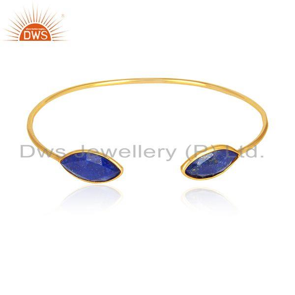 Lapis Lazuli Gemstone Designer 18k Gold Plated Silver Cuff Bangle