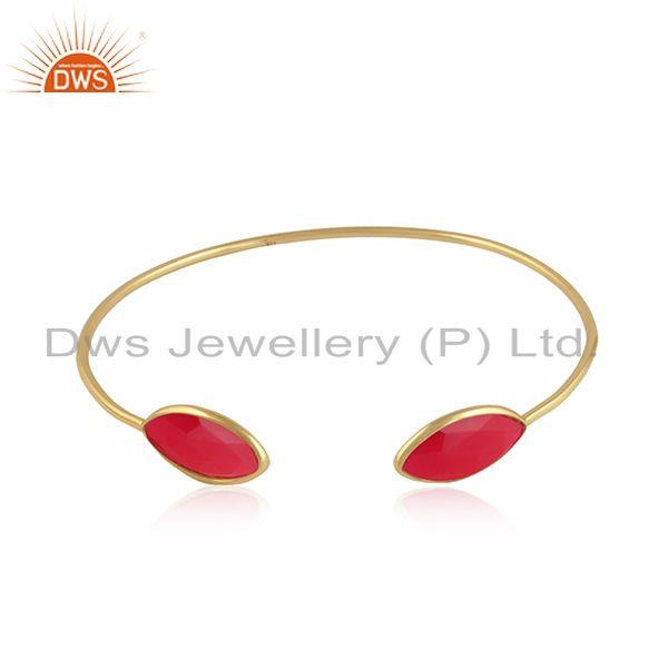 Pink Chalcedony Gemstone Designer Gold Plated Silver Cuff Bangle