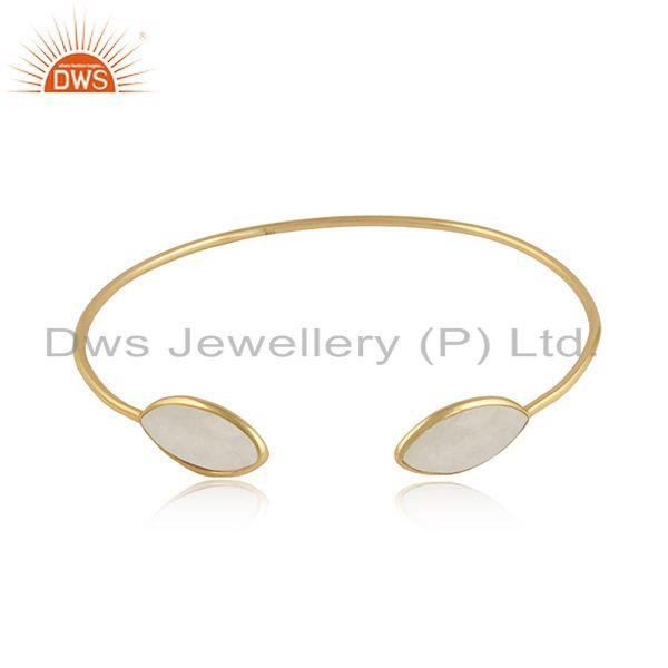 Rainbow moonstone gemstone 18k gold over silver cuff bangles