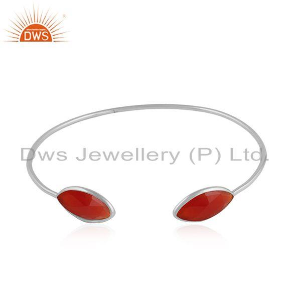 Red Onyx Gemstone Womens Fine Silver Designer Cuff Bangle Jewelry