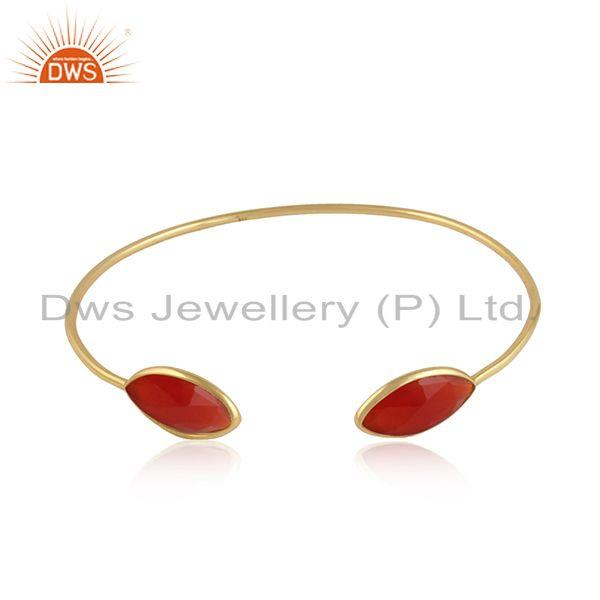 Red onyx gemstone designer gold over 925 silver cuff bangles