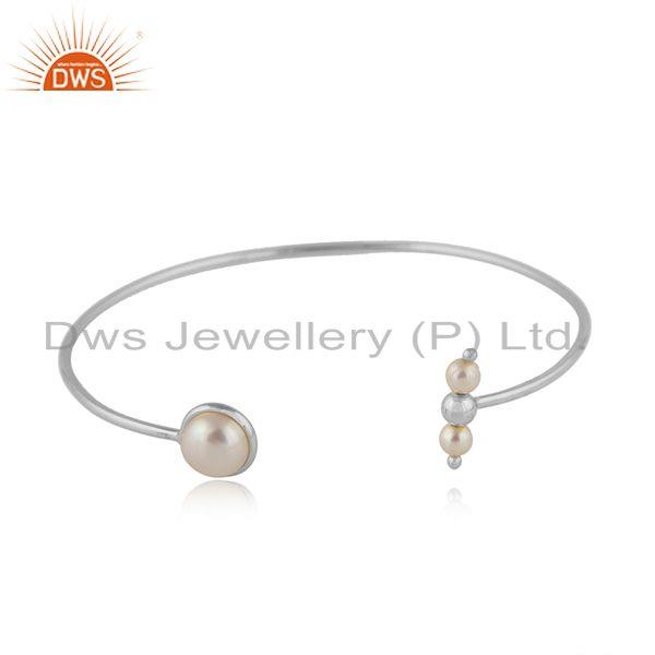 Womens 925 Fine Silver Natural Pearl Gemstone Cuff Bangle Jewelry