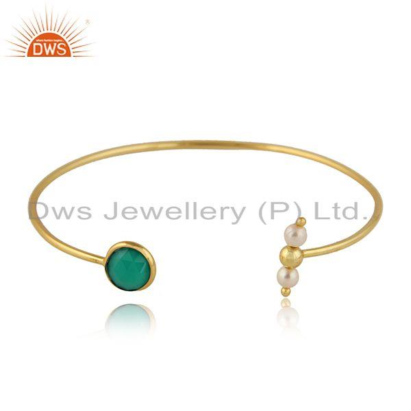 Green Onyx Natural Pearl Designer Gold Plated Silver Cuff Bangle