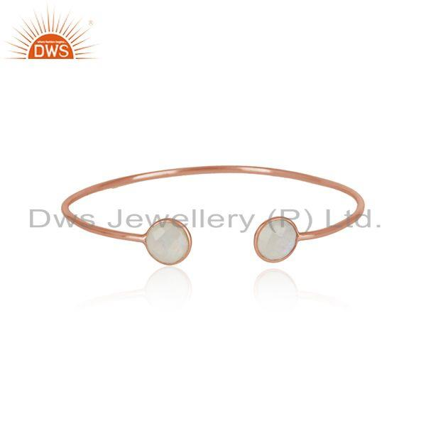 Handmade silver 925 cuff rose gold on and rainbow moonstone