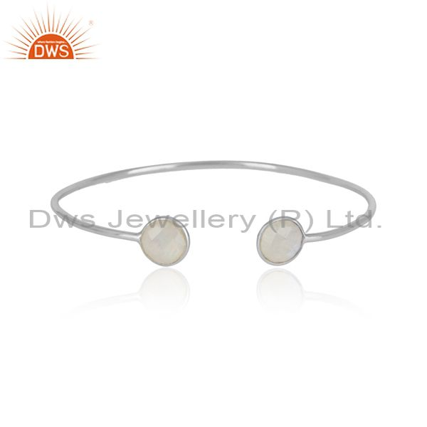 Handmade solid silver cuff adorn with natural rainbow moonstone