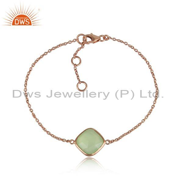Prehnite Chalcedony Set Rose Plated Silver Chain Bracelet