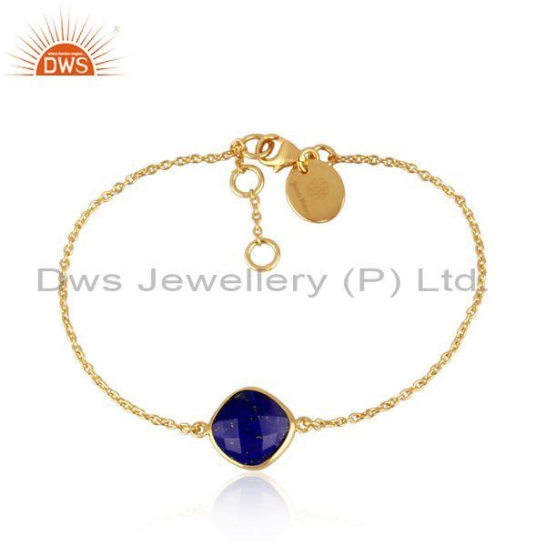 Lapis charm set gold on silver statement chain bracelet