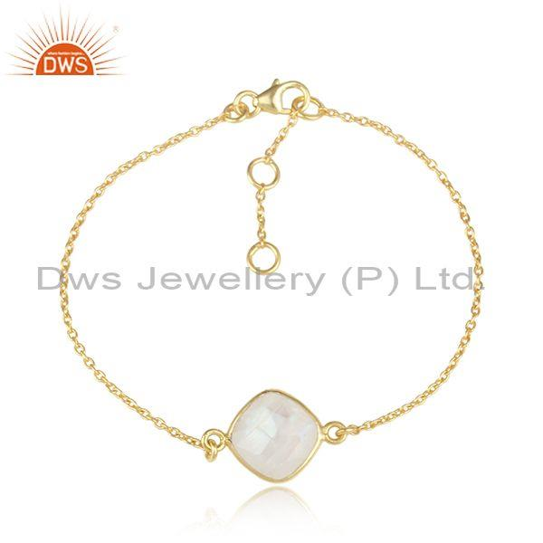Rainbow Moon Stone Set Gold On Silver Chain Bracelet