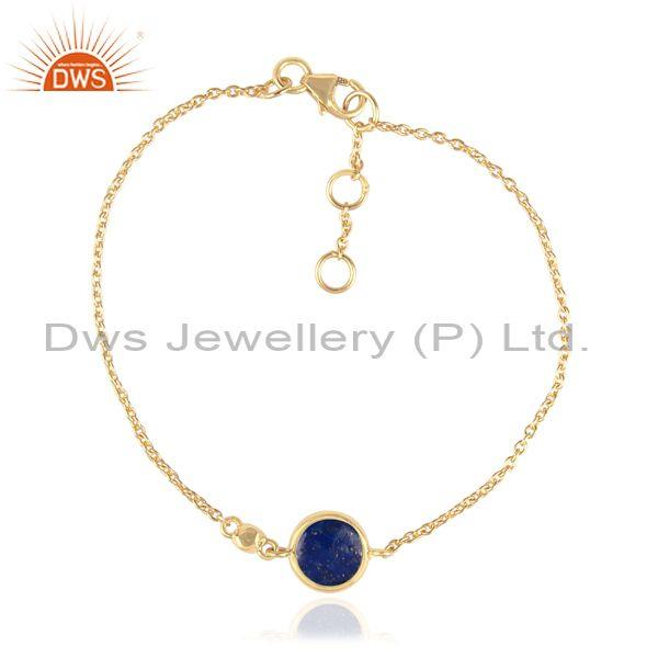 Round Lapis Charm Set Gold On Sterling Silver Chain Bracelet