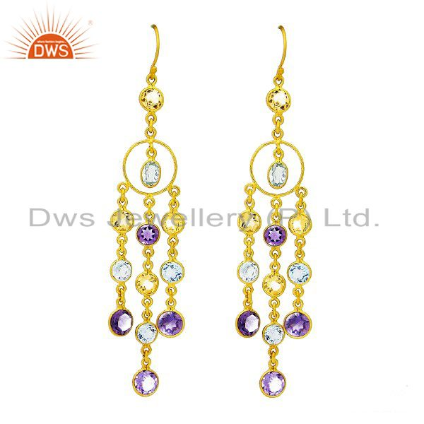 18K Yellow Gold Plated Sterling Silver Multi Colored Gemstone Chandelier Earring