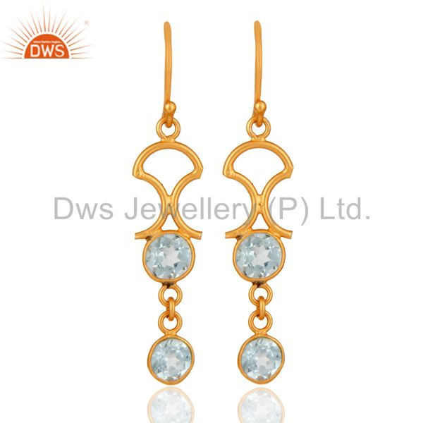 Handmade 925 Sterling Silver Blue Topaz Gemstone Earring With 22K Gold Plated
