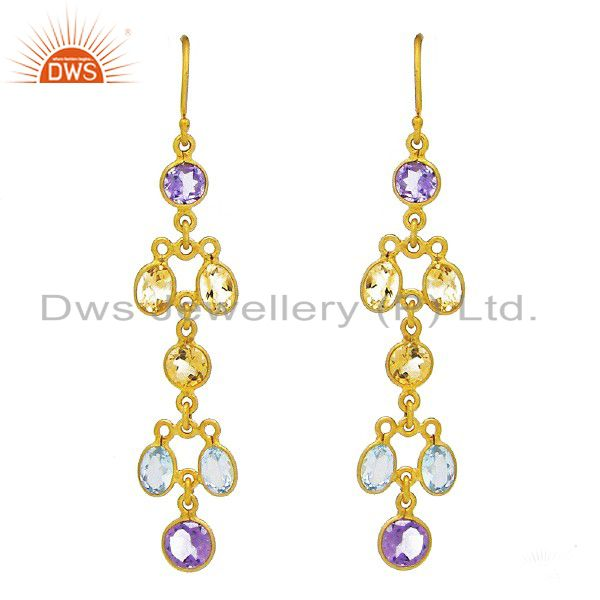 22K Gold Plated Sterling Silver Amethyst, Citrine And Blue Topaz Dangle Earrings