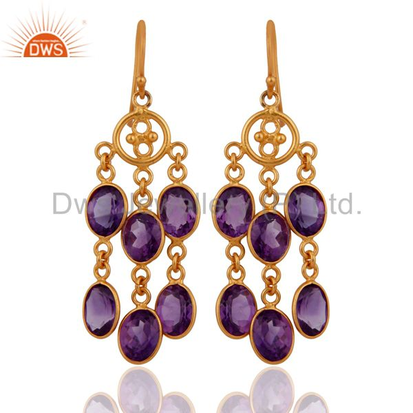 Designer Gold Plated 925 Sterling Silver Amethyst Dangling Chandelier Earrings