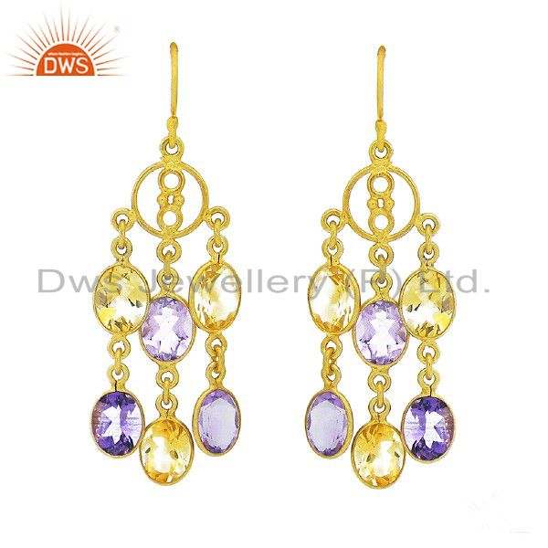 22K Yellow Gold Plated Sterling Silver Amethyst And Citrine Chandelier Earrings
