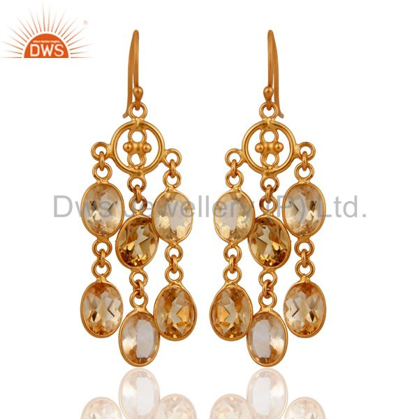 .925 Sterling Silver Chandelier Style Citrine Gemstone Earrings With Gold Plated