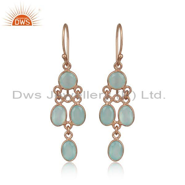 Aqua Chalcedony Newly Rose Gold Plated 925 Silver Earrings