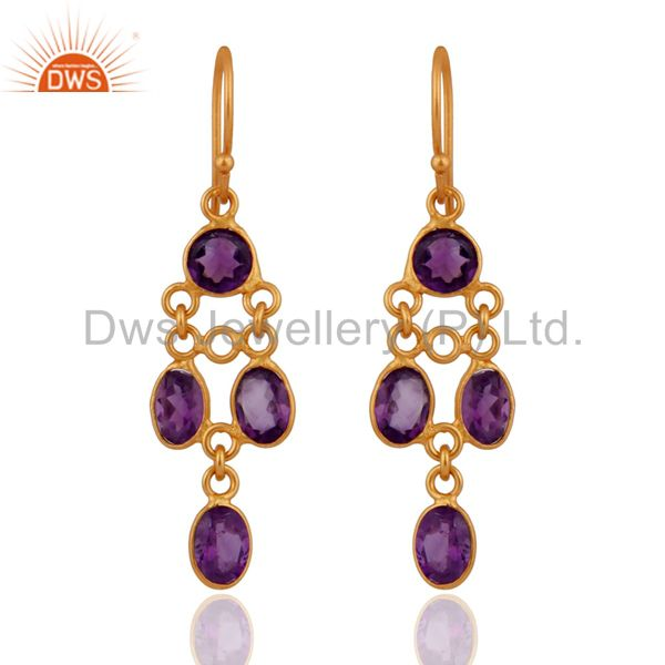 Handmade Amethyst Gemstone Earrings In 18k Gold on 925 Sterling Silver Jewelry