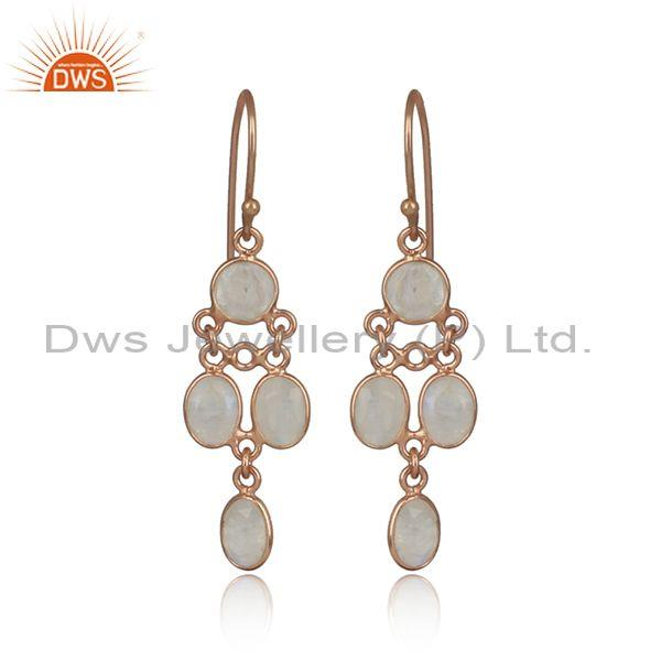 Fashion Rose Gold On 925 Silver Rainbow Moonstone Earring