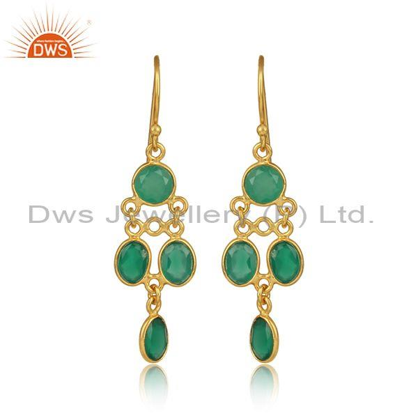 Designer Gold On 925 Silver Natural Green Onyx Earring