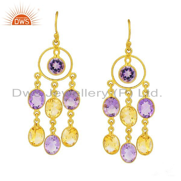 18K Yellow Gold Plated Sterling Silver Amethyst And Citrine Chandelier Earrings