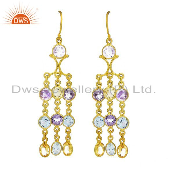 Amethyst, Blue Topaz And Citrine Chandelier Earrings Made In 18K Gold On Silver