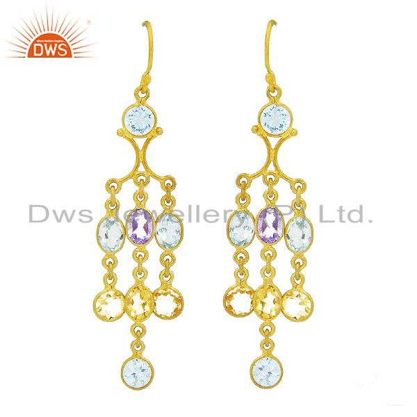 22K Yellow Gold Plated Sterling Silver Amethyst & Blue Topaz Chandelier Earrings