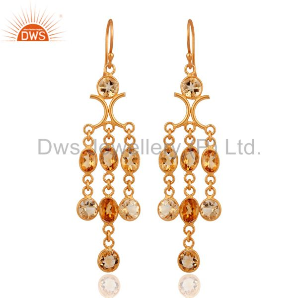 Citrine Gemstone Chandelier Earrings in Gold Plated On Sterling Silver Jewelry
