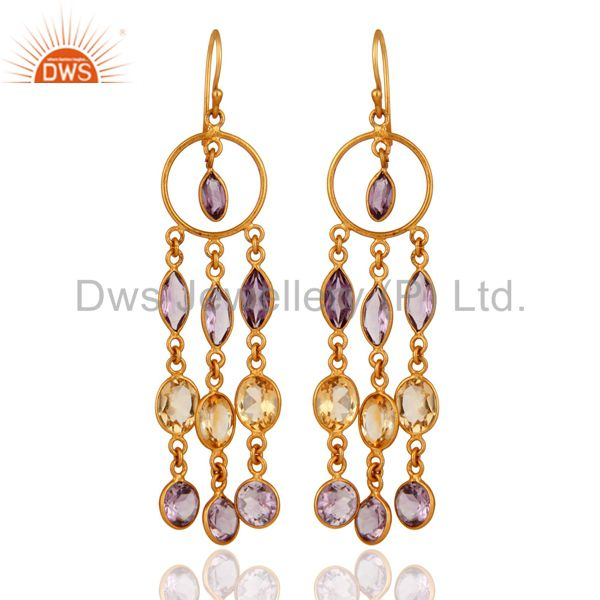 Handmade 925 Sterling Silver Citrine and Amethyst Gold Plated Dangle Earrings