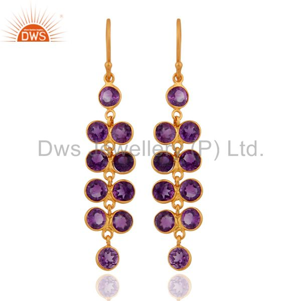 Handmade Amethyst Gemstone 18K Gold Plated 925 Sterling Silver Dangle Earrings