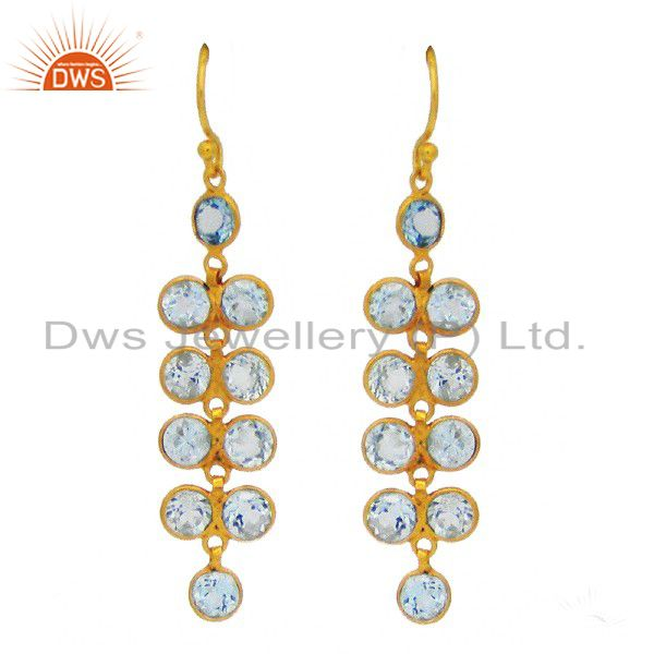 18K Yellow Gold Plated Sterling Silver Blue Topaz Bezel Set Dangle Earrings