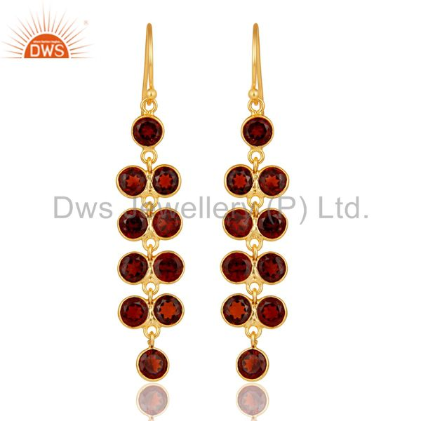 22K Yellow Gold Plated Sterling Silver Garnet Gemstone Bezel Set Drops Earrings