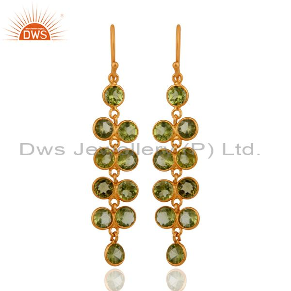 Handmade 925 Sterling Silver Gold Plated Peridot Gemstone Ladies Dangle Earrings
