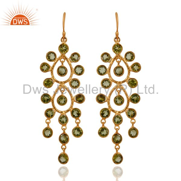 18k Yellow Gold Plated 925 Sterling Silver Natural Peridot Chandelier Earrings