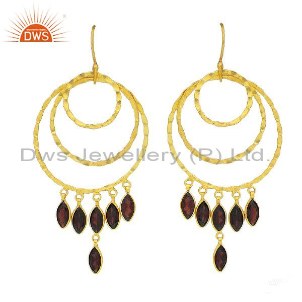 22K Yellow Gold Plated Sterling Silver Garnet Hammered Circle Dangle Earrings