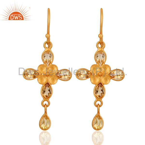 Handmade Citrine Gemstone Dangle Earrings With Yellow Gold Plated Brass
