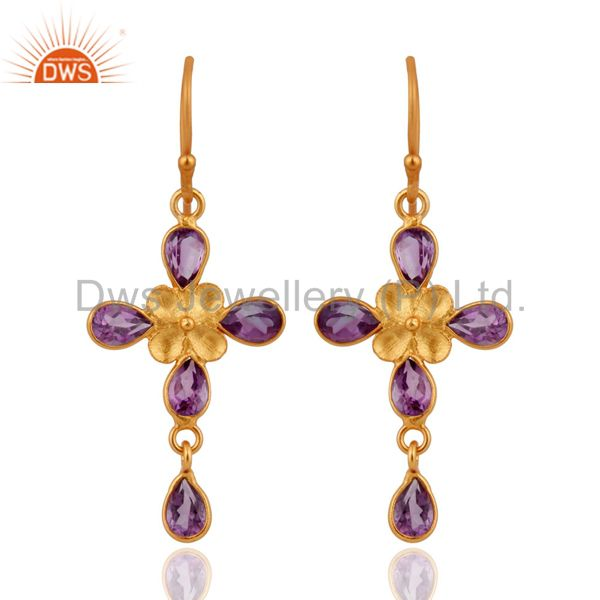 Natural 24k Gold Plated 925 Sterling Silver Amethyst Dangle Hook Earrings