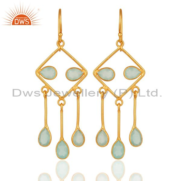 Handmade 925 Sterling Silver Aqua Blue Glass Chandelier Earrings With Gold Verme