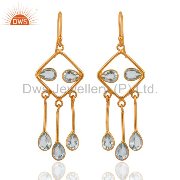 Designer 925 Sterling Silver With 18k Gold-Plated Blue Topaz Gemstone Earrings